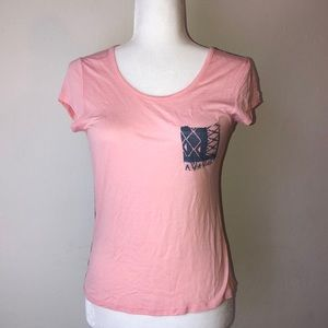 Pink Tee with Blue/Grey Tribal Print Pocket/Back